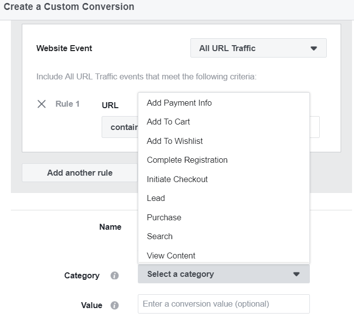Facebook provides default categories for various conversions. Apartment marketers should start with leads.