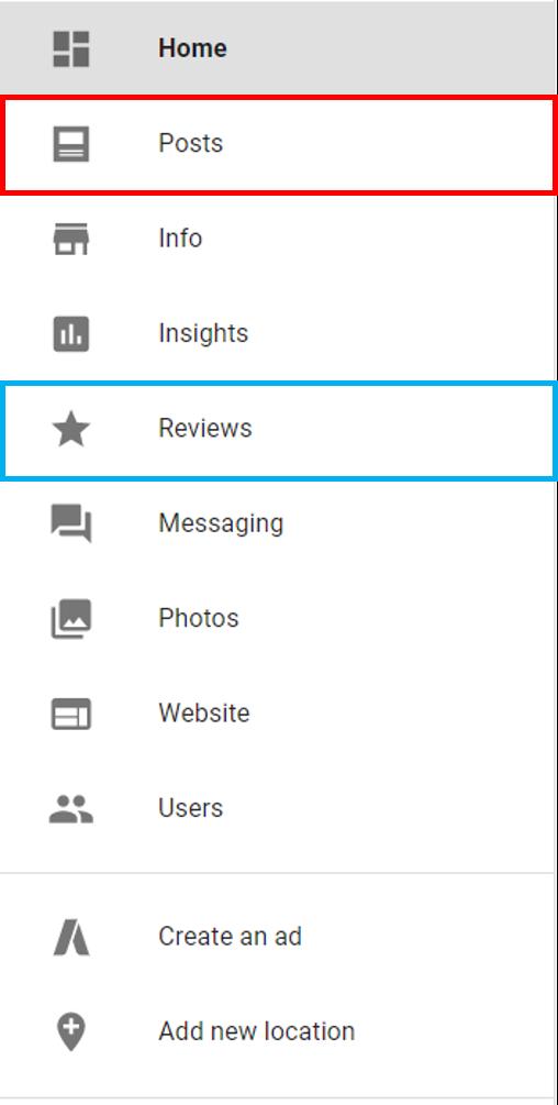 Google My Business Menu screenshot