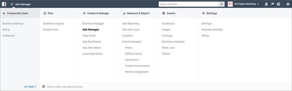 Facebook business manager menu screenshot