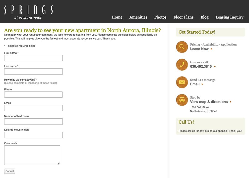 Contact Form example screenshot