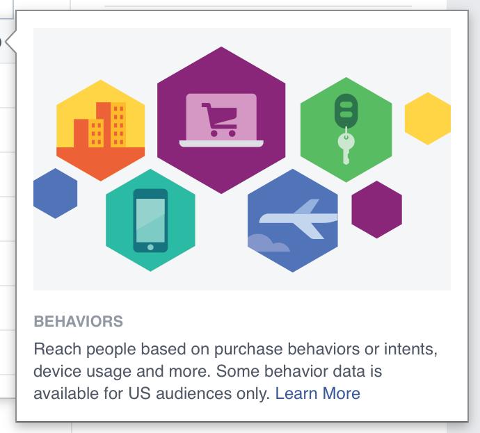 Facebook Behavioral targeting definition screenshot