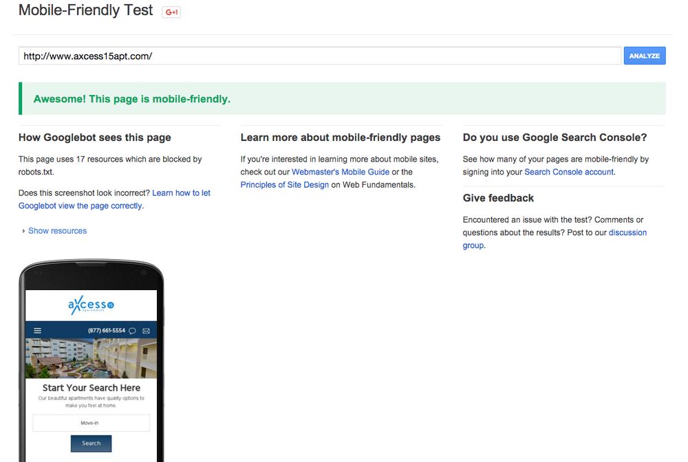 Google Mobile-friendly Test