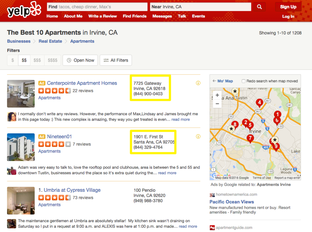Yelp search results screenshot