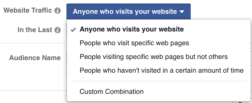 Facebook website traffic targeting options screenshot