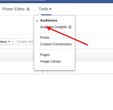 Facebook tools drop down menu