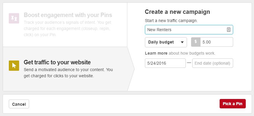 Pinterest Traffic Ads