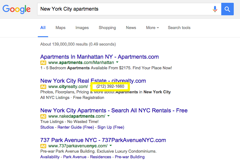 New York City apartments search results
