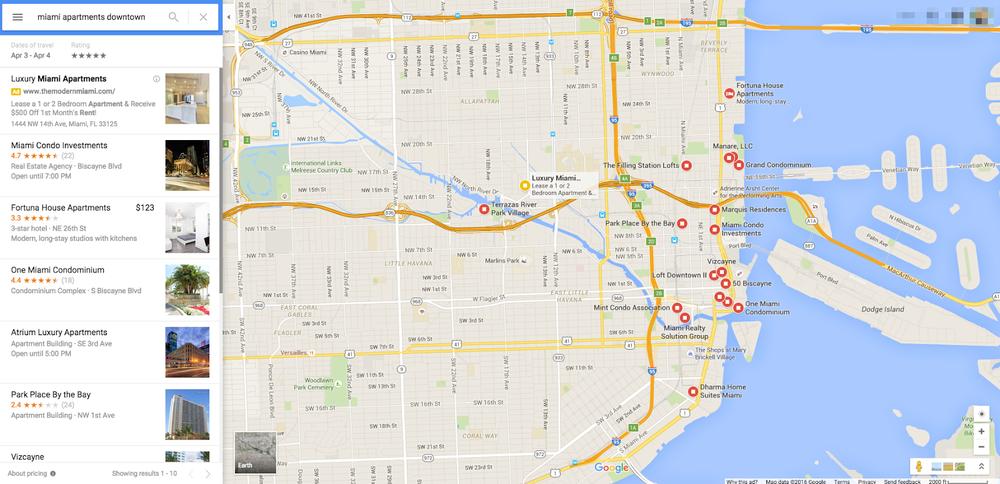 Google Maps results screenshot