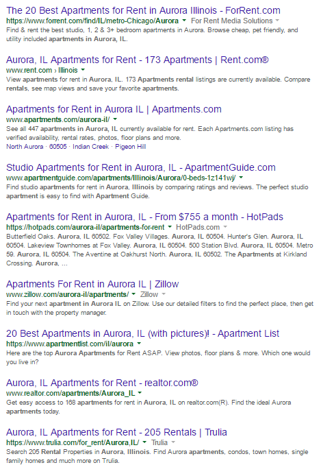 Apartment Listing Sites First Page of Google