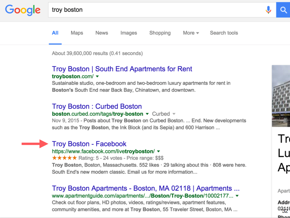 Troy Boston Google search results screenshot