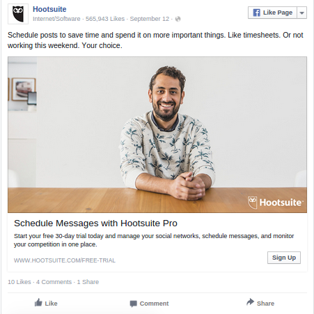 Another Facebook News Feed Ad Example
