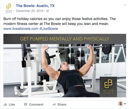 Property facebook post highlighting fitness center.