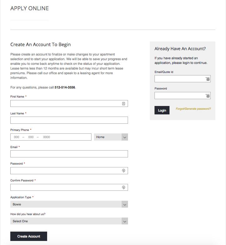 Apartment Online Application