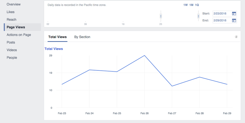 Facebook Insights screenshot of page views.