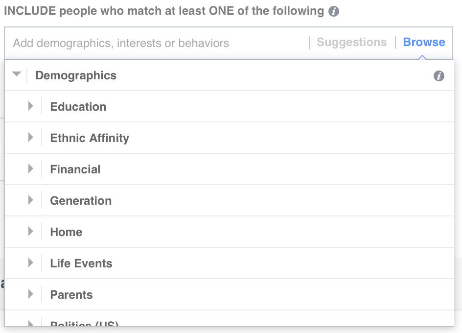 Facebook Demographics targeting screenshot