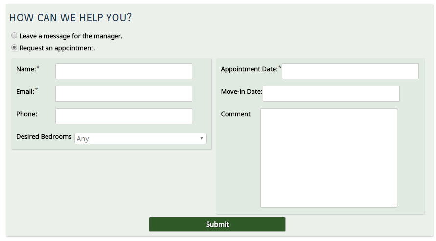 Apartment Contact Form Fields