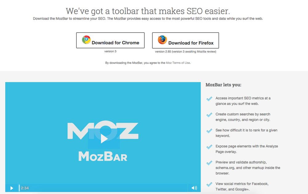 Moz SEO Toolbar