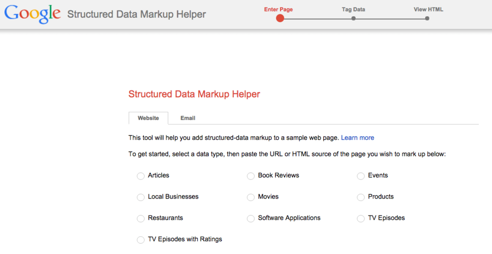 Google Structured Data Markup Helper