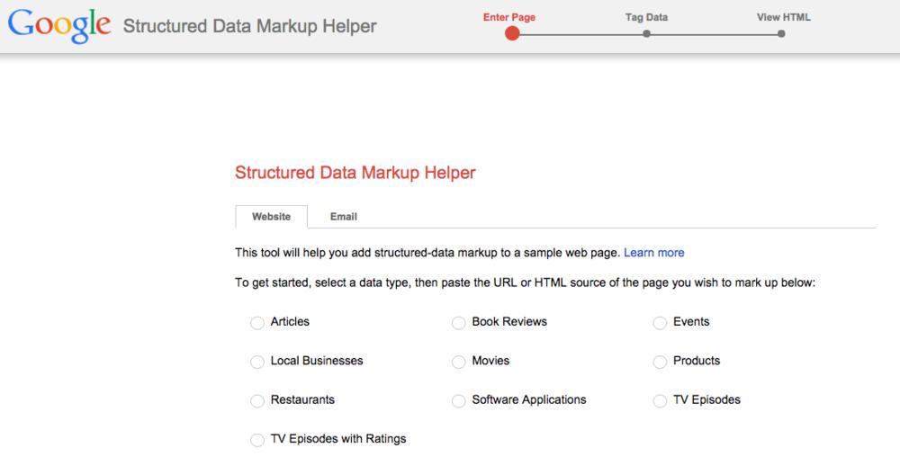 Google Structured Data Markup Helper