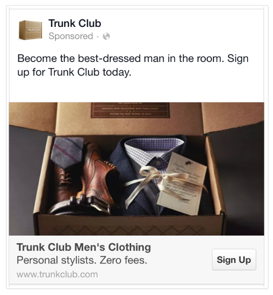 Trunk Club Mobile Facebook Ads Example