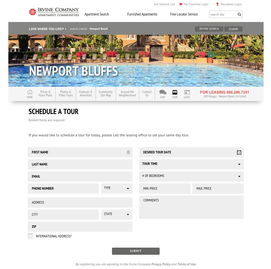 Newport Bluffs website screenshot