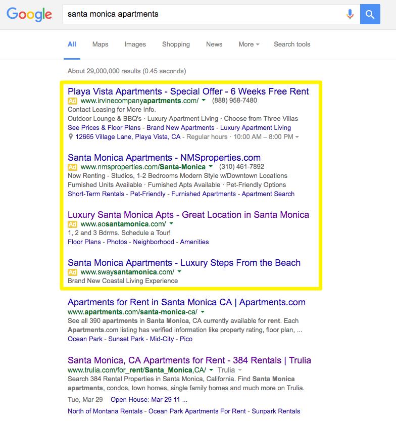 santa monica apartments search results screenshot