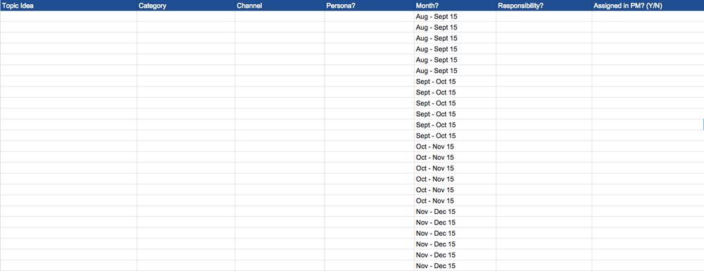 Editorial Calendar spreadsheet template