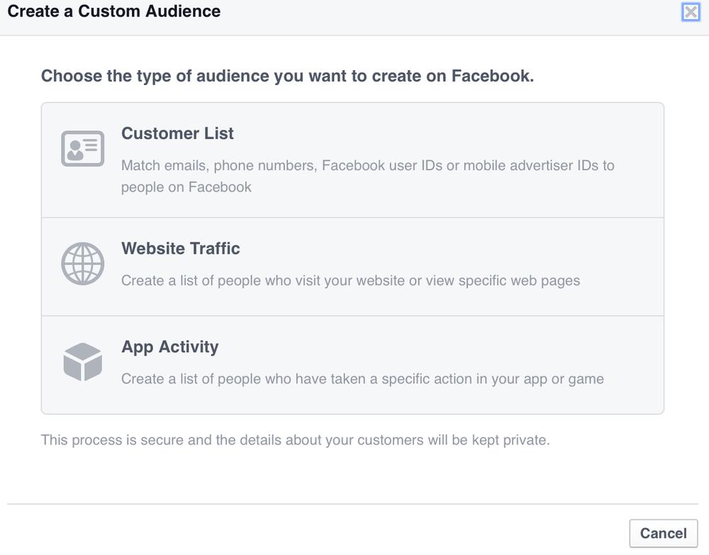 Facebook Custom Audience creation screenshot