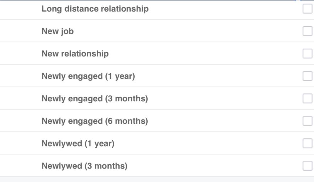 Facebook other life events targeting screenshot