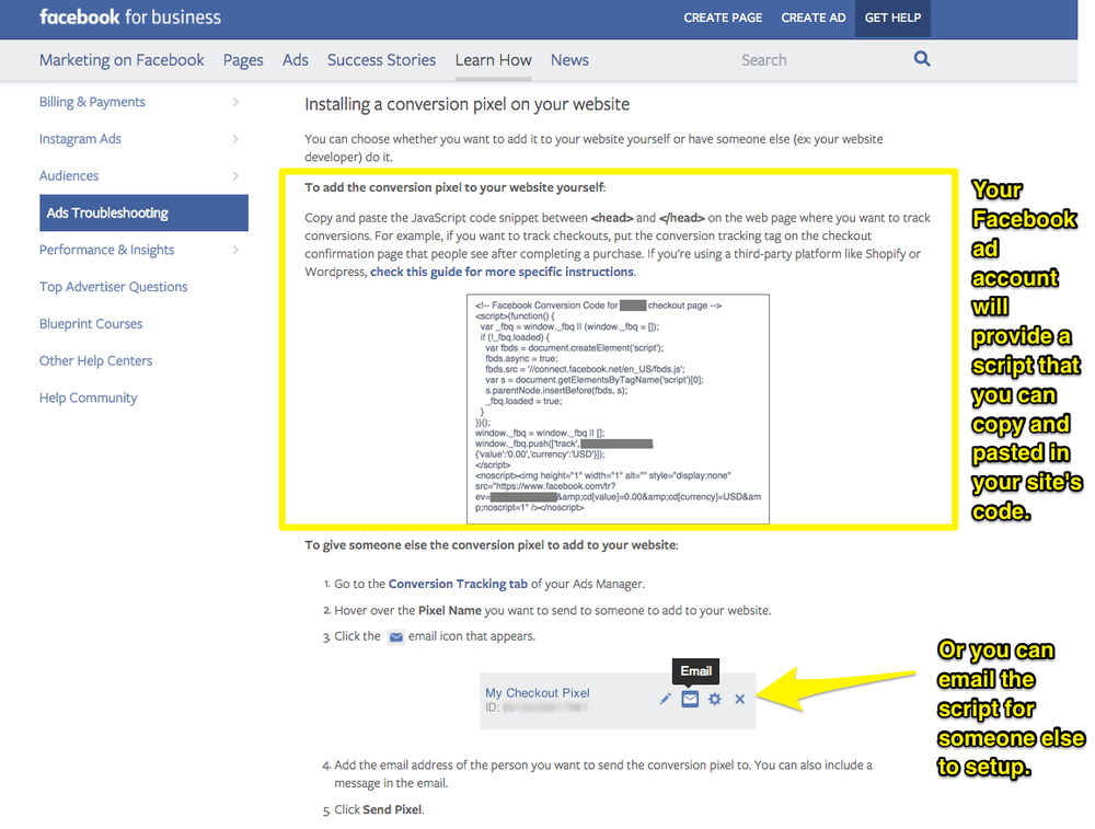 Facebook Business ads troubleshooting screenshot.