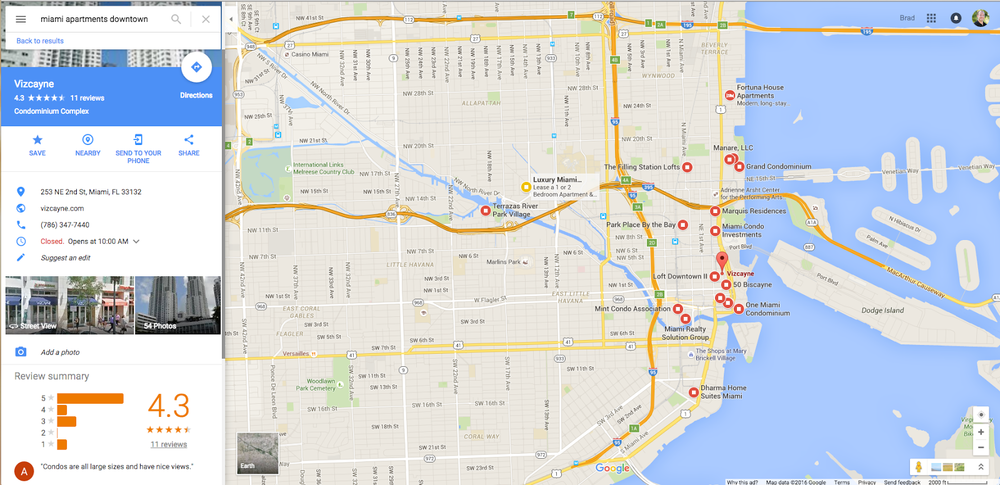 Google Maps search results screenshot