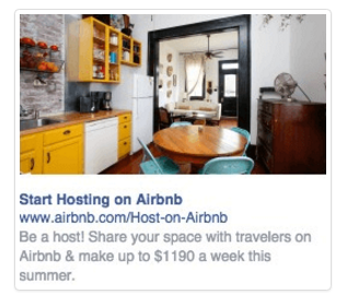 Airbnb Sidebar Facebook Ads Example