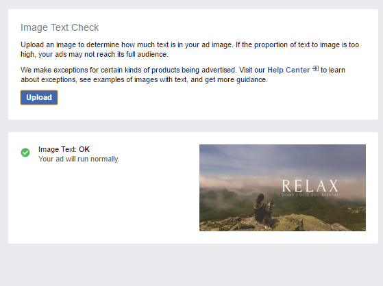 Facebook Ads Image Text Check