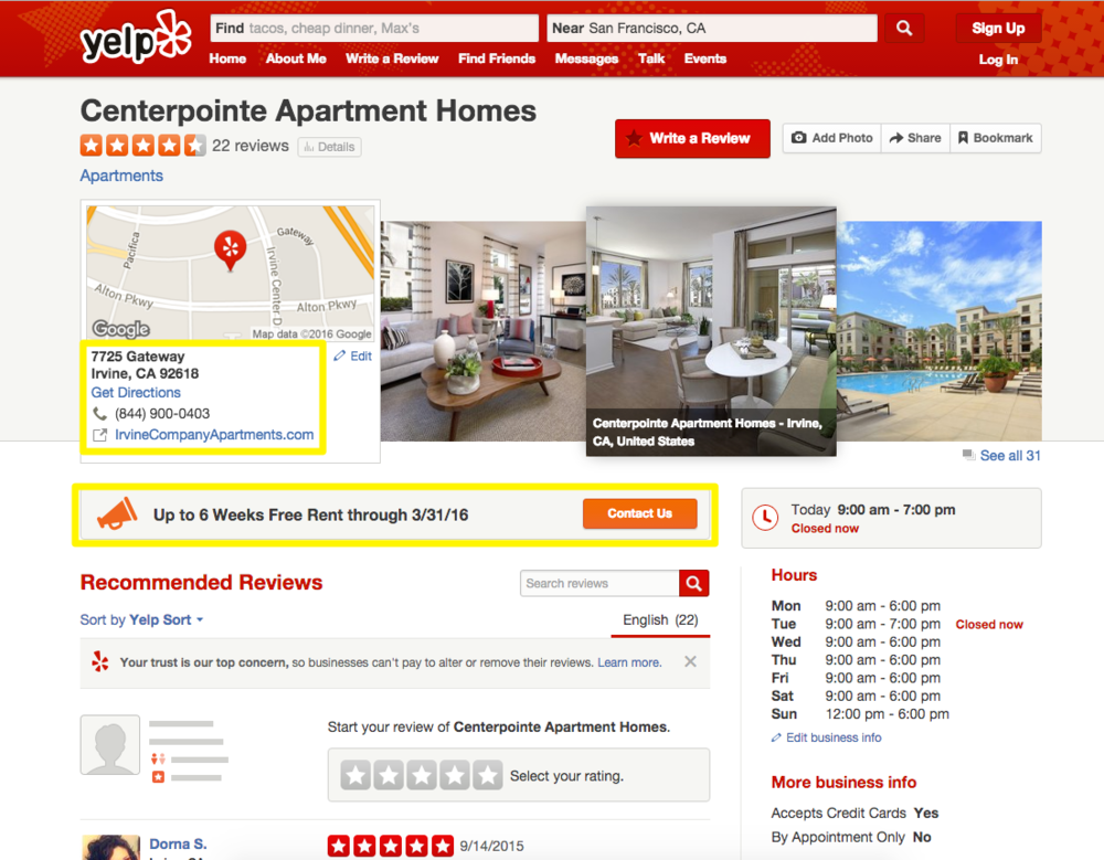 Centerpointe Apartment Homes yelp profile