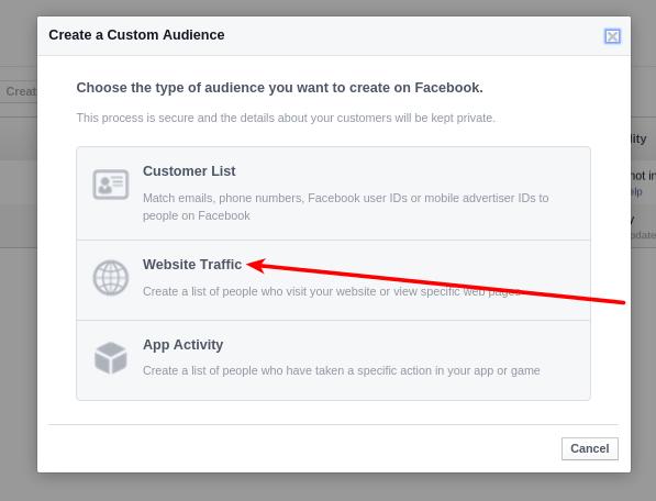 Facebook Website traffic audience