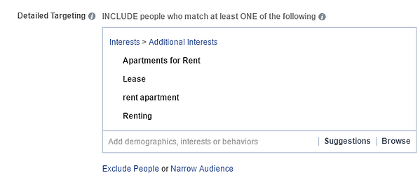 Facebook additional interests detailed targeting screenshot