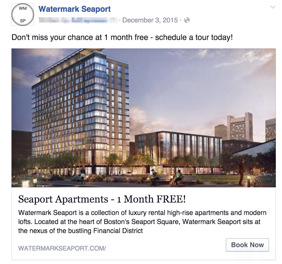 Watermark Seaport Facebook Ad Example 2 screenshot