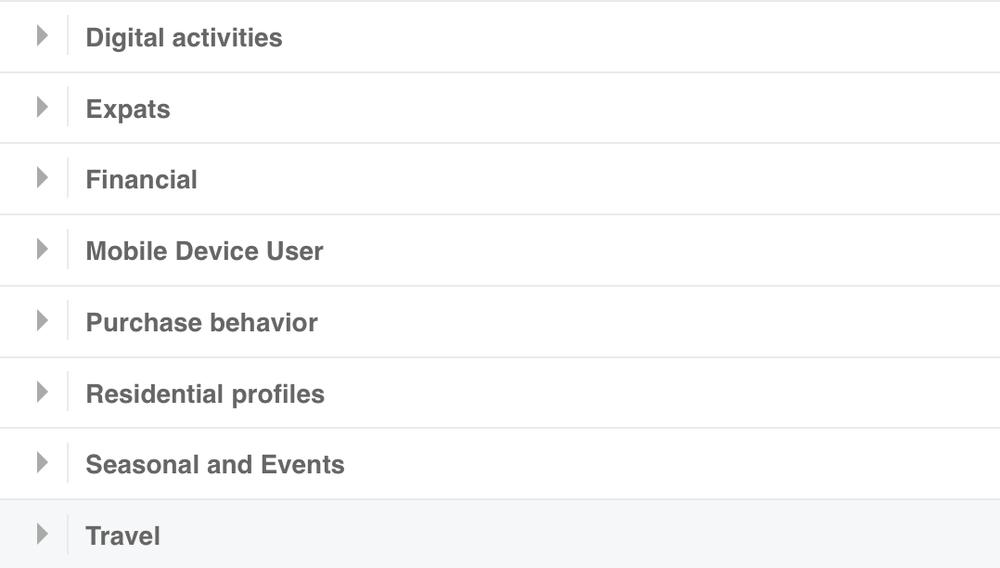Facebook Behavior targeting screenshot