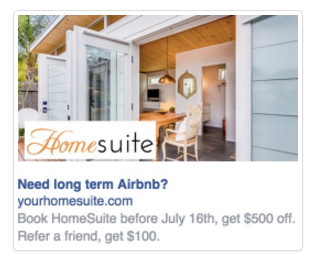 HomeSuite  Sidebar Facebook Ads Example