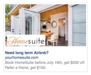 HomeSuite Sidebar Facebook Ads Example