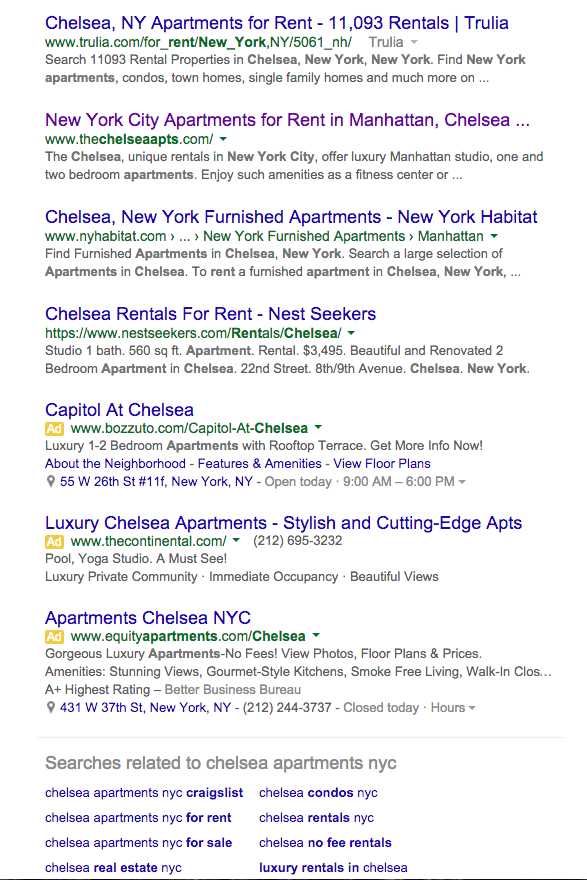 Chelsea, NY search result screenshot
