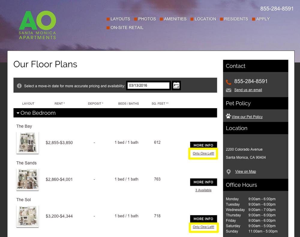 AO Santa Monica Apartments Floor Plans