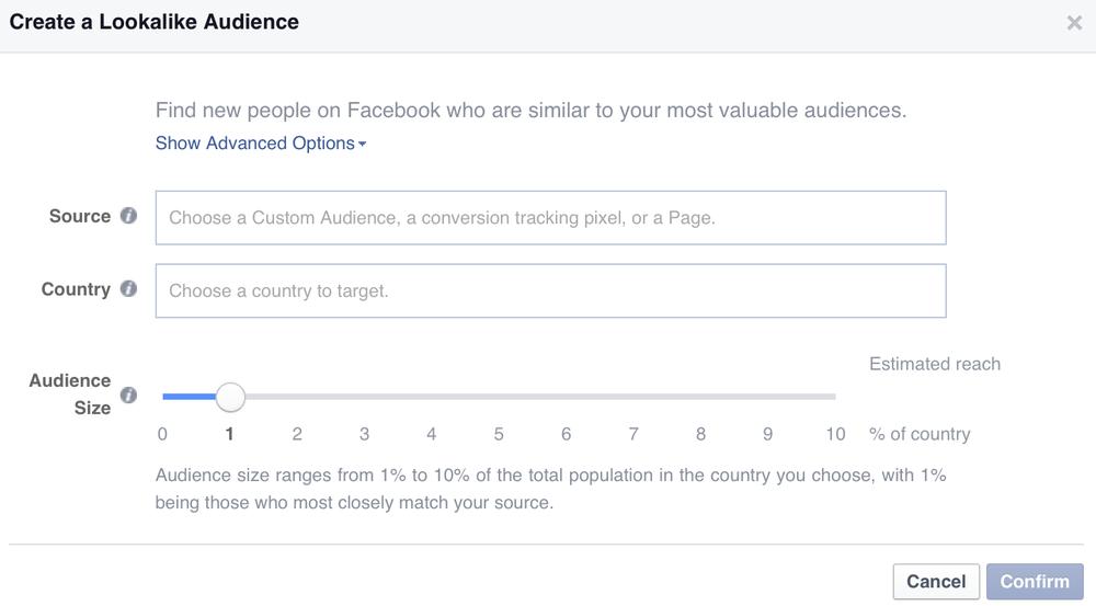 Facebook Create a Lookalike Audience screenshot