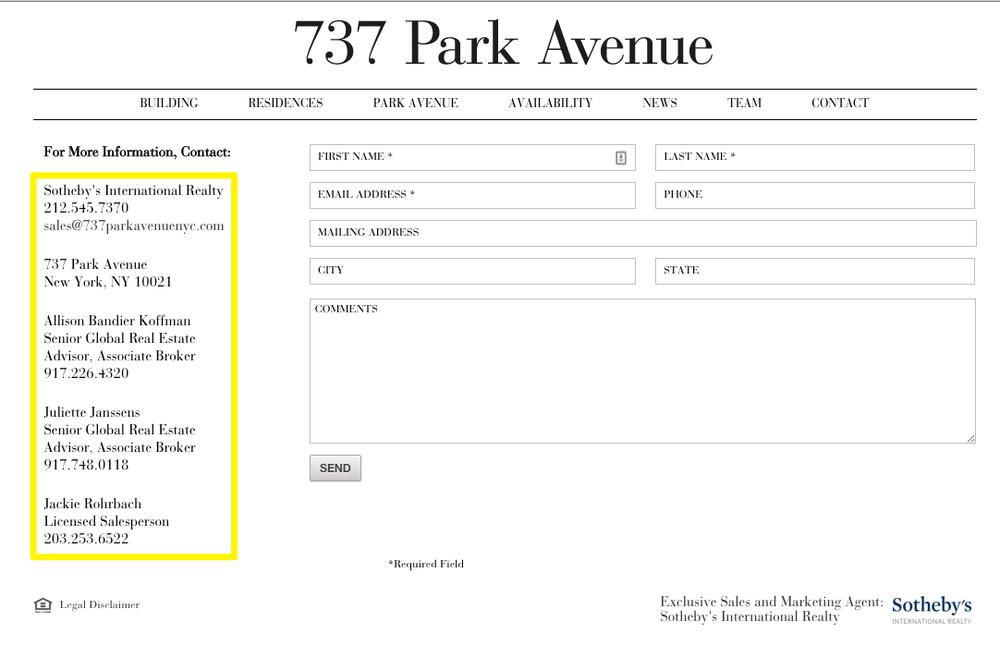 737 Park Avenue contact page