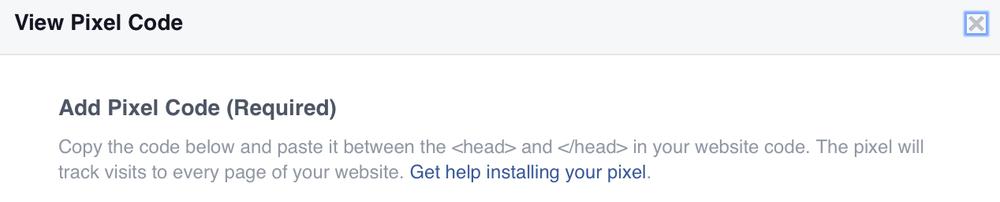 Facebook View Pixel Code screenshot