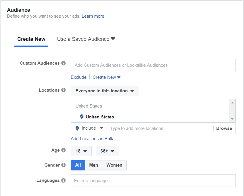 From this screen you can input various audience targeting data