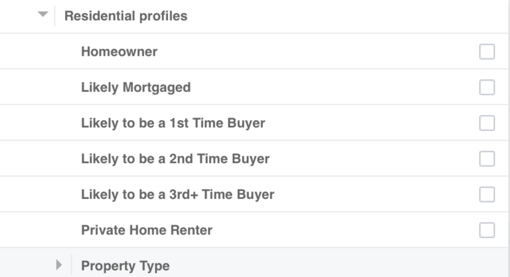 Facebook Residential profiles targeting screenshot